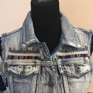 Mudd Jackets & Coats - Denim distressed Jean jacket vest sleeveless med